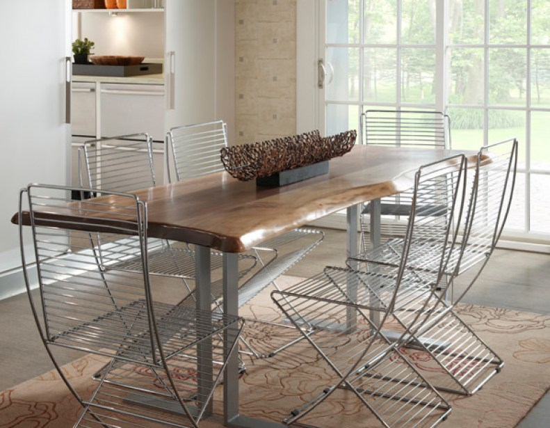 10 modern rustic dining table ideas for Tree trunk dining room table
