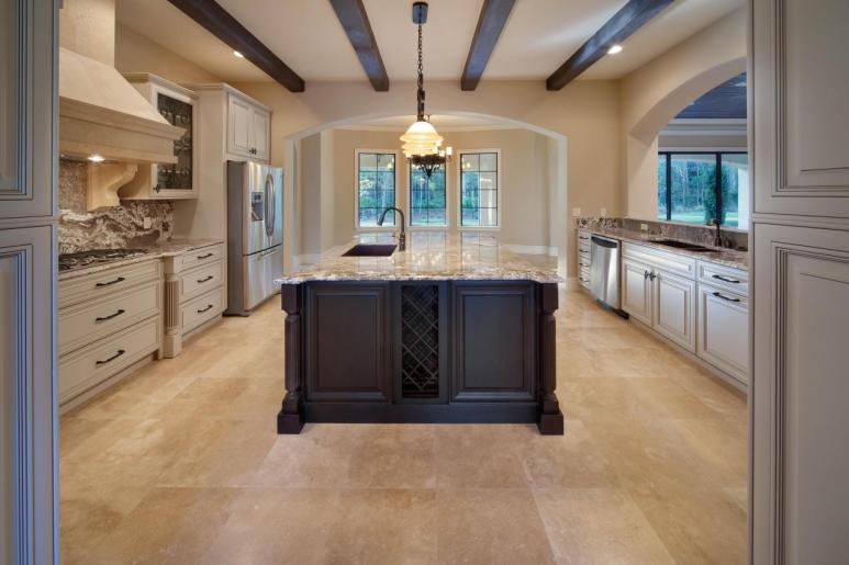 of this contemporary kitchen is highlighted by the rectangular kitchen