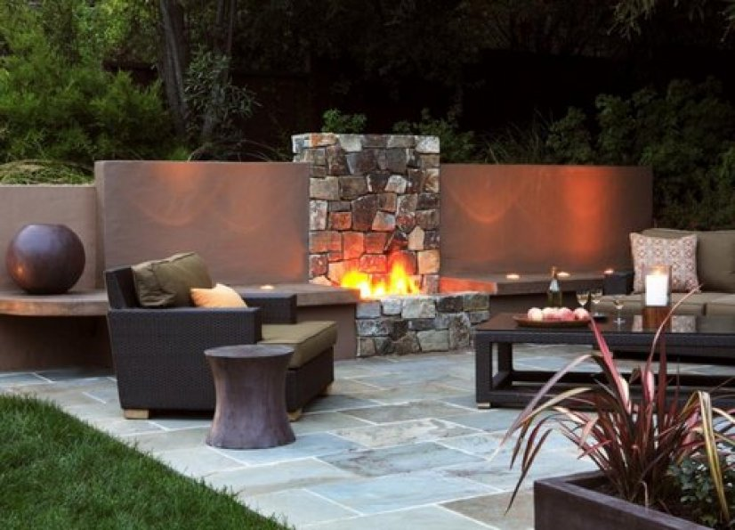Outdoor stone fireplace surrounds and fireplace designs for Outdoor stone fireplace designs