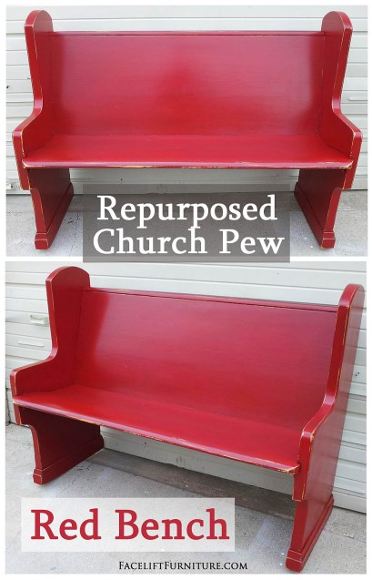 Church Pew Repurposed into a Red Bench - From Facelift Furniture