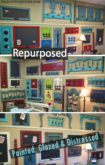 Head and foot boards repurposed with hooks into coat racks - DIY Inspiration from Facelift Furniture