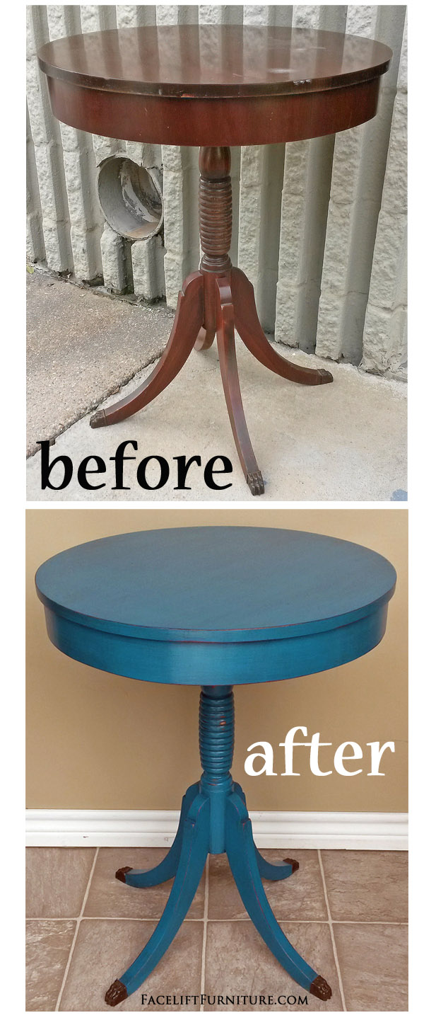 This Small Duncan Phyfe Pedestal Table Was Given A New Life With Paint,  Glaze And Distressing.