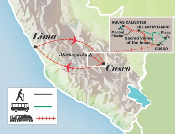 map of the itinerary peru tour short inca trail to machu picchu