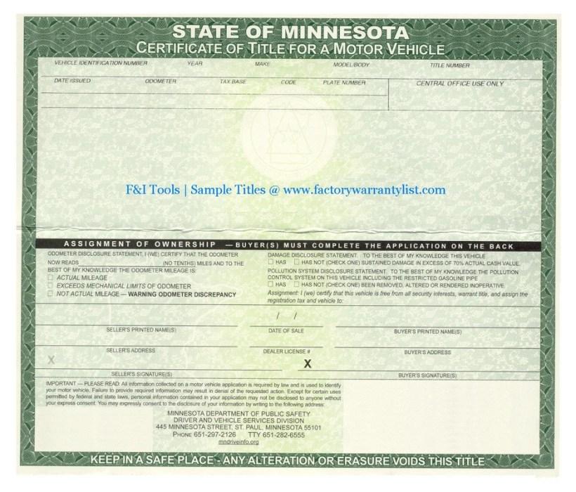 Minnesota Motor Vehicle Registration