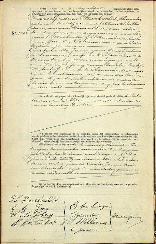 Marriage license of my maternal great grandfather & grandmother (Netherlands)
