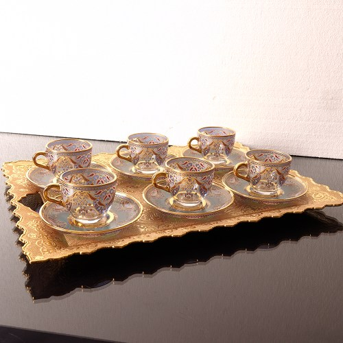 Cosmopolitan Six Person Metal Cups Set Tray Espresso Turkish Coffee Cups