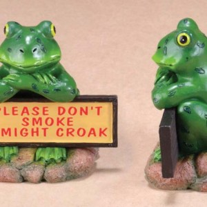 "Ceramic Croaking Frog with Sign ""Please Don't Smoke I Might Croak""   7-4"