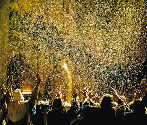 """Amidst the congregation's tumultuous cheers...a cascade of golden glitter fell from above."""
