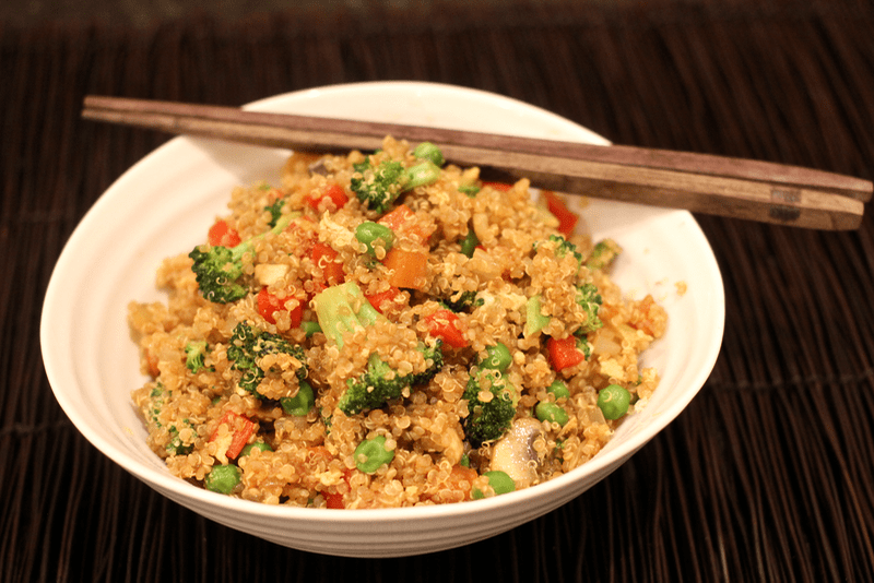veggie-packed quinoa fried rice that's ready in a flash!