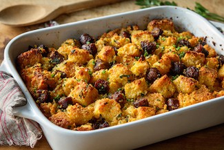 Spicy jalapeno cornbread with sausage | Thanksgiving sides round up