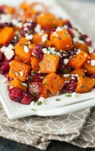 Honey roasted butternut squash with cranberries and feta | Thanksgiving sides round up