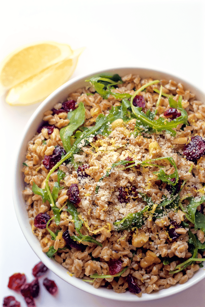 Citrus farro and arugula salad with walnuts and cranberries - Family ...