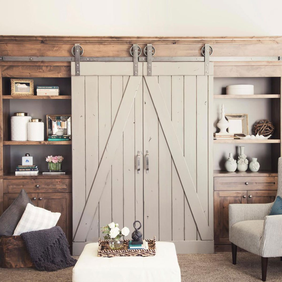 Posh Frosted Glass Windows Barn Doors Barn Doors How To Build A Rustic Barn Door Family Handyman Barn Doors houzz-03 Double Barn Doors