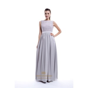 Smart Light Grey Sleeveless Lace Sparkle Long Bridesmaid Dresses Chiffon Bottom Long Bridesmaid Long Bridesmaid Dresses Sleeves Cheap Chiffon Bottom Long Bridesmaid Dress Light Grey Sleeveless Lace