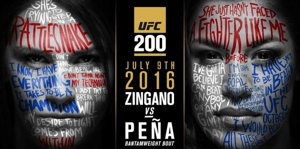 #UFC200 books Zingano vs Pena!