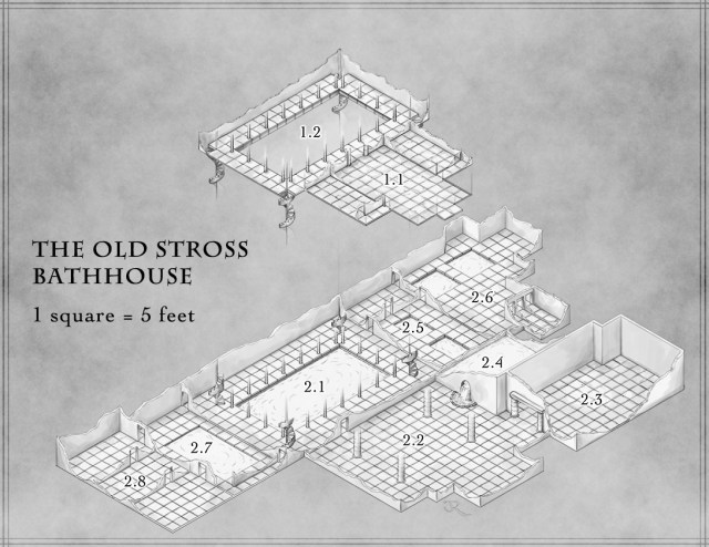 Fantasy map of the Old Stross Bathhouse for Streets of Zobeck