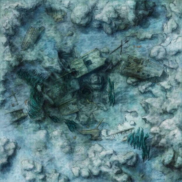 Fantasy battlemap of an underwater shipwreck
