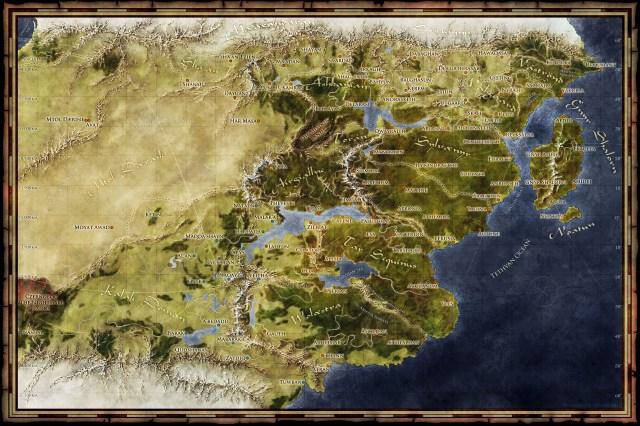 world map of the Saemmyr fantasy setting for Blackstar Studios