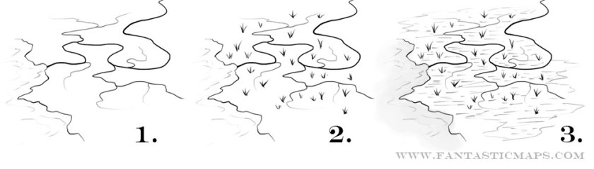 A tutorial on how to draw swamps for fantasy maps