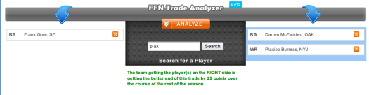 Fantasy Football Nerd Trade Analyzer Output