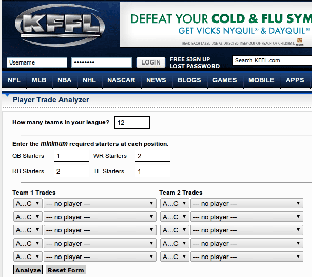 KFFL Fantasy Football Trade Analyzer