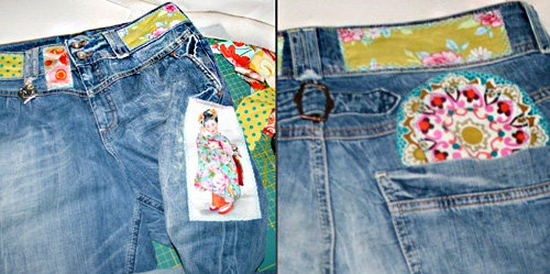 Jeans stylen, recycle-style, Jeanshose, farbenmix
