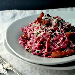 Beet Pasta Carbonara 250