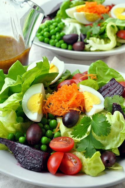 Butterhead Salad with Olives, Spring Peas & Roasted Beets via farmgirlgourmet.com