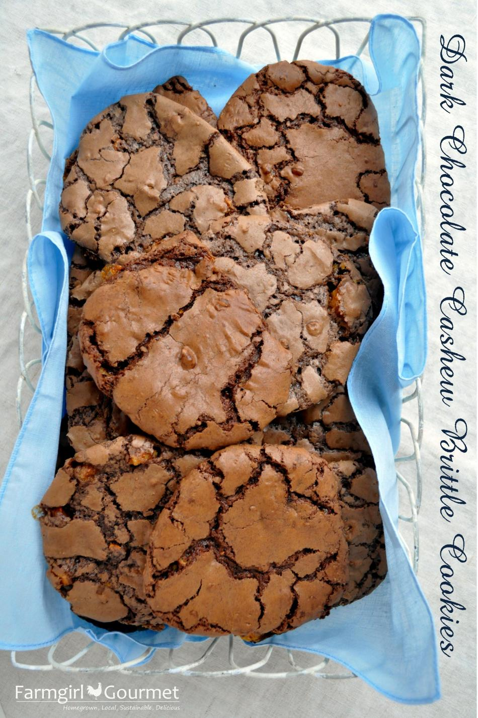 Dark Chocolate Cashew Brittle Cookies