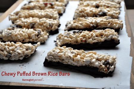 Chewy Puffed Brown Rice Bars | farmgirlgourmet.com