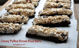 Chewy Puffed Brown Rice Bars | farmgirlgourmet.com