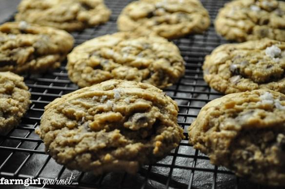 Salted Toffee Chocolate Chip Cookies | farmgirlgourmet.com