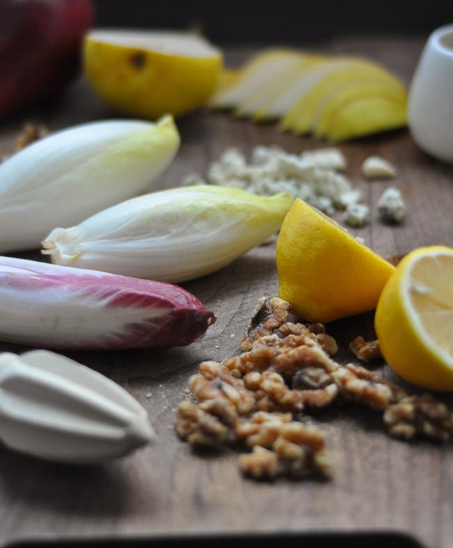 Endive Salad with Stilton, Pears & Walnuts | farmgirlgourmet.com
