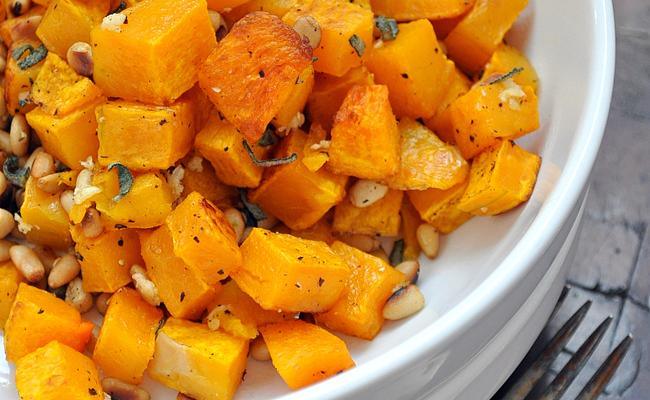Roasted Butternut Squash with Garlic, Sage & Pine Nuts | Farmgirlgourmet.com