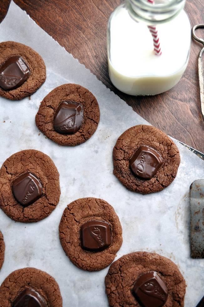 Chocolate Creamy Cookies farmgirlgourmet.com #cookies #DoveDark