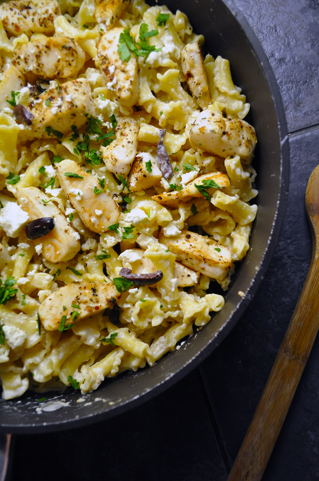 Campanelle with Tilapia, Olives and Feta | farmgirlgourmet.com #pasta #dinnerinunder30 #whilethepastacooks