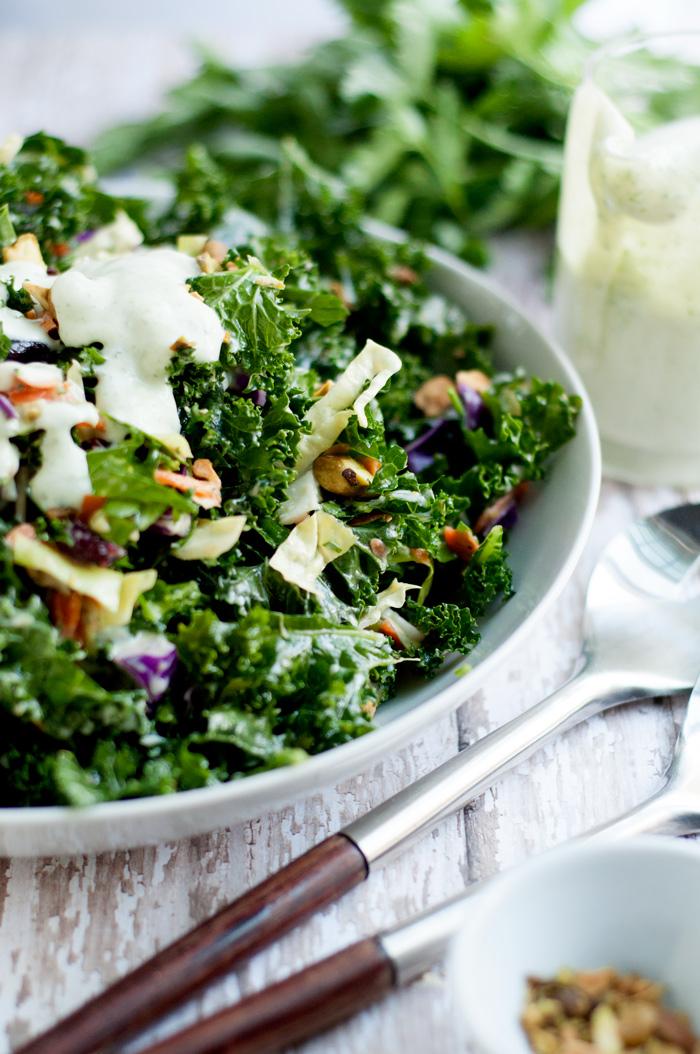Kale Salad with Garlic Tarragon Dressing | Farmgirl Gourmet