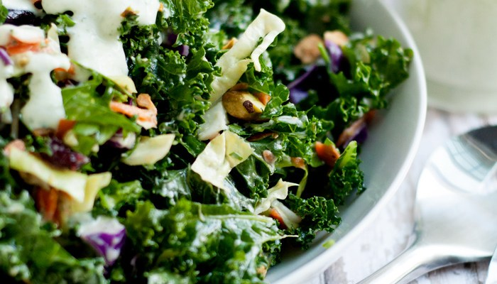 Kale Chopped Salad with Garlic Tarragon Dressing | farmgirlgourmet.com