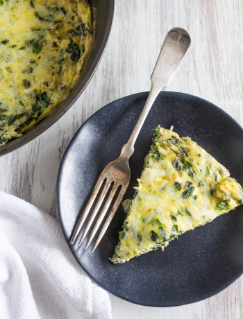 This spinach artichoke frittata is the best breakfast, brunch or dinner! This frittata is packed full of chopped baby spinach, marinated artichokes and sharp Parmesan cheese. The whole dish is ready in less than 30 minutes and crazy delicious!
