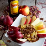 Baked Kahlua and Pecan Brie is a perfect appetizer or dessert recipes served up with apple slices.