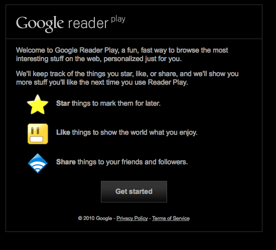 Google Reader Play start e1268263137633 Google Reader Play, una manera ms divertida de llegir els RSS