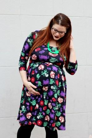 pinup girl clothing, cthulu, fashionably nerdy, chewbeads, zenni, maternity, geek chic, hannah, swing dress, dress
