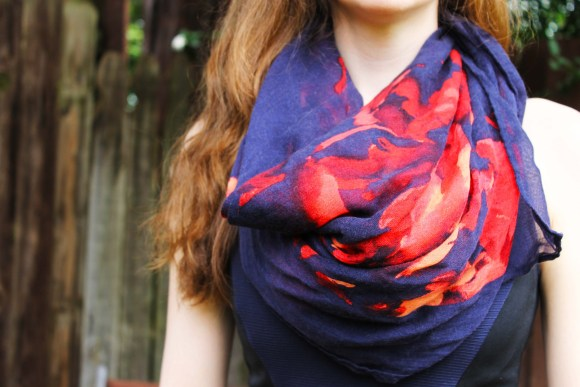 FBC- Navy and Red Floral Scarf