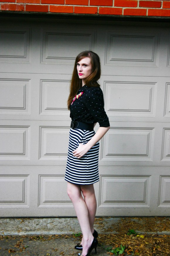 Emily from FBC- Target black and white striped skirt, Old Navy black and white polka dot button down, Paper Dolls neon statement necklace, Lauren Conrad bow pumps