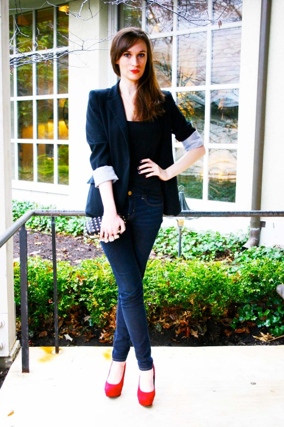 Emily from FBC- Black blazer, jeans, red pumps, holiday look, date night look, dressy casual, studded clutch