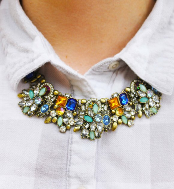 Jess from FBC in a statement necklace