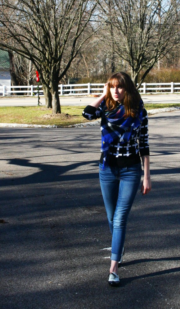 Emily from FBC- American Eagle jeans, Target sweater, Paisley boutique blanket scarf