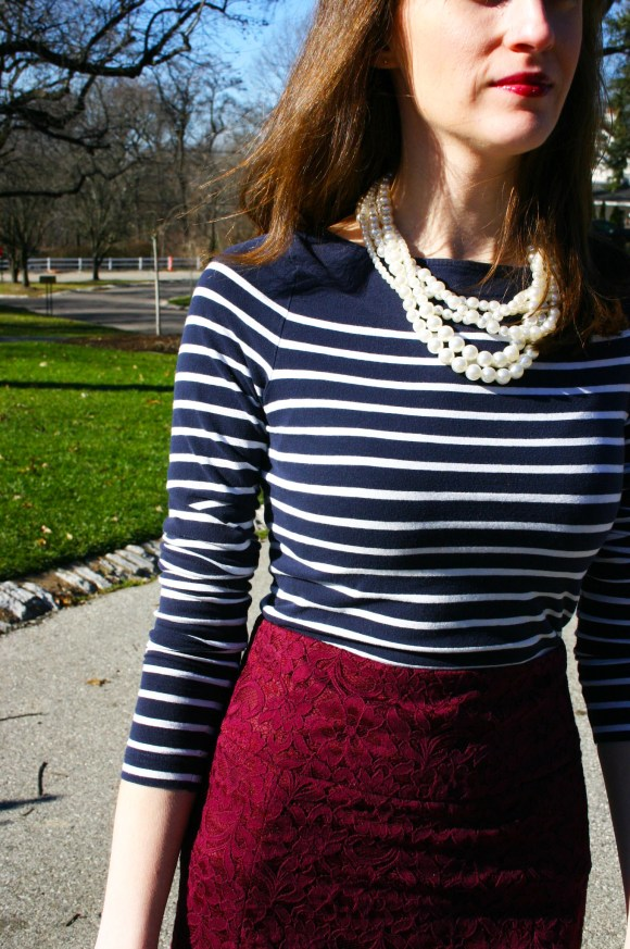Emily from Fashion By Committee- Express maroon pencil skirt, H&M navy and white striped top, Target pearls, t-strap pumps
