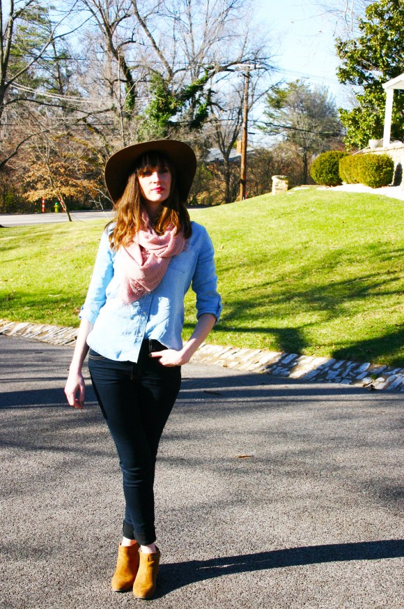 Emily from Fashion by Committee- World Market Infinity Scarf, American Eagle jeans, Target chambray shirt and hat