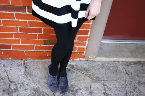 Emily from Fashion By Committee- Loft rabbit sweater, Express striped skirt, Old Navy polka dot shirt